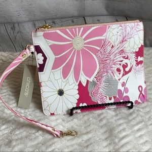 Chico's floral zip pouch with clip